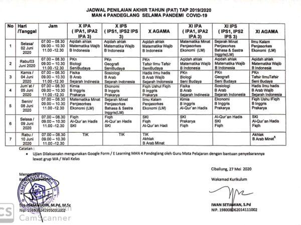 Jadwal Ujian Akhir Tahun Semester Genap Tahun Ajaran 2019/2020